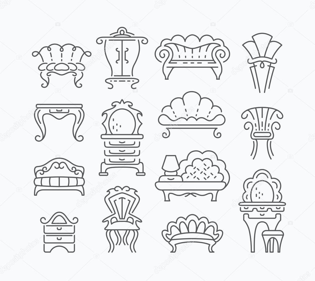 Juego De Muebles Retro Gr Fica Vector De Stock Zubroffka 88830700 # Muebles Dibujos Para Colorear