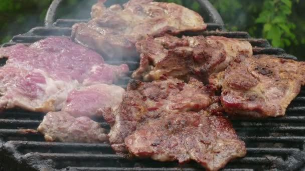 Steak na grilu, přiblížit video
