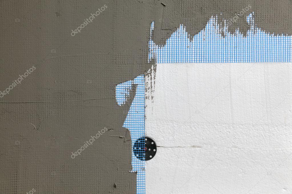 aislamiento de la pared, espuma de poliestireno, malla y mortero ...
