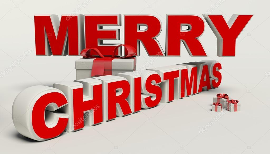 Buon Natale 3d.Buon Natale Testo 3d Regalo Ad Alta Risoluzione Foto Stock