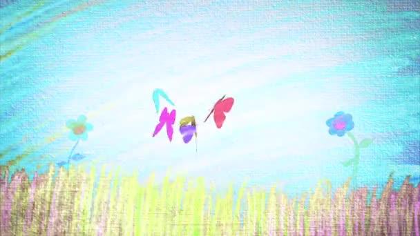 Paesaggio di primavera con fiori e farfalle