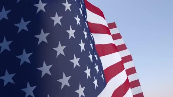 Egyesült Államok zászló a szélben hullámzó