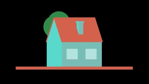 3D animáció - Egyszerű ház forgó alfa matt