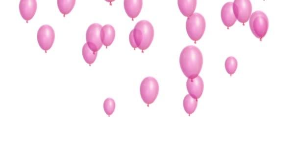 růžové balónky na bílém pozadí
