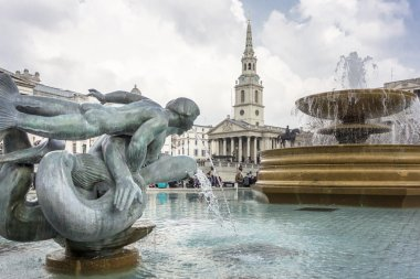 Mermaid and Dolphin Statue and fountain, Trafalgar Square, Londo