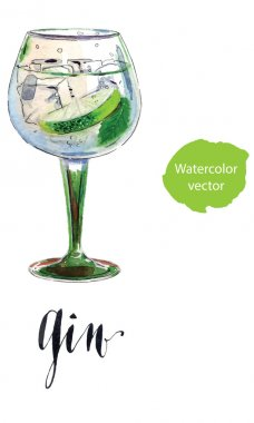 Gin with ice and lime slice