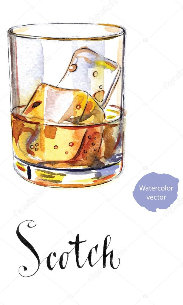 Glass Of Scotch Whiskey Brandy With Ice, Glass Ice Cubes Vector