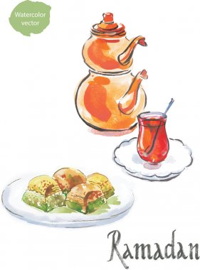 Ramadan and watercolor turkish tea with baklava