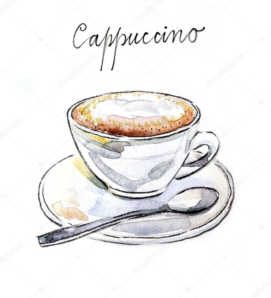 Watercolor coffee cappuccino stock photo mimino 80020432 for Coffee watercolor