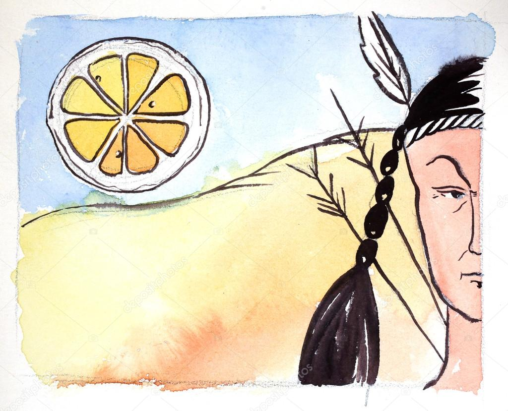 Watercolor injun and big orange