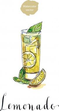 Glass of lemonade or lemon juice with ice cubes and sliced lemon