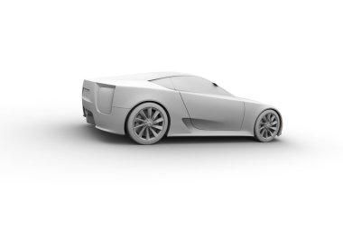 Sport car 3d model. Clay render.
