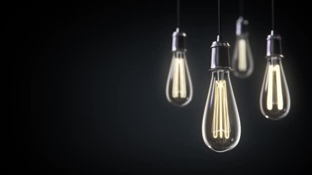 Gruppe von alten Glühbirnen 3D-Animation