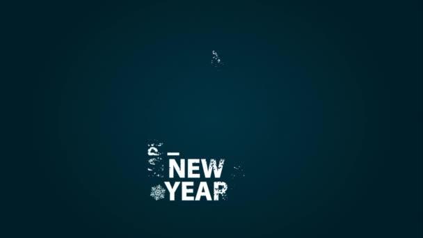 Šťastný nový rok. Plochý animace stylizovaného textu a sněhu s vánoční stromeček