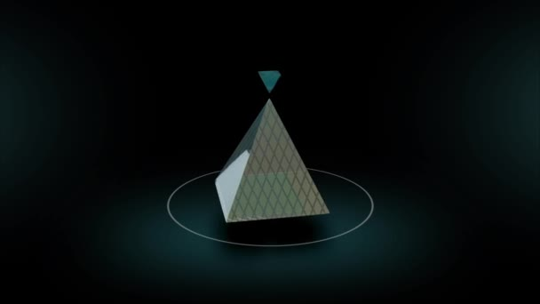 Rotate of abstract glass pyramid on dark background 3d animation