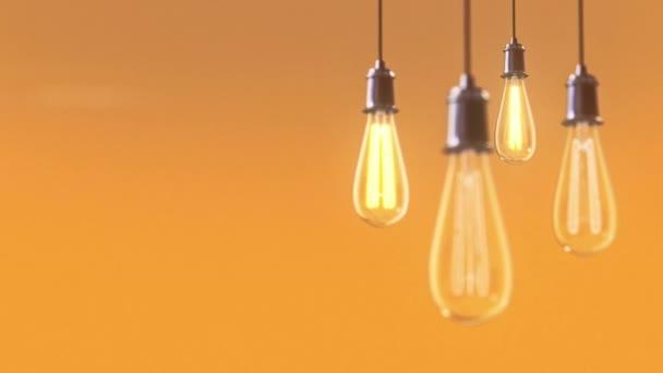 Skupina historických žárovka světla 3d animace