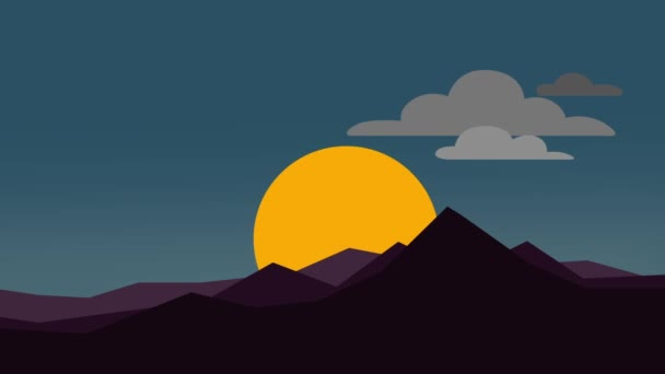 Abstract sunrise with mountain flat animation