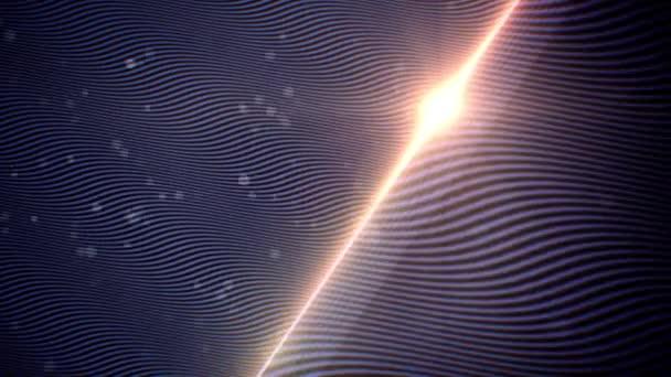 Abstraktní vlna toku modré pozadí s částicemi a diagonální objektivu flare animace