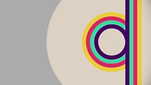 Abstraktní ploché barevné svislé čáry toku kruh animace