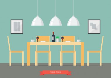 Flat Design Interior Dining Room