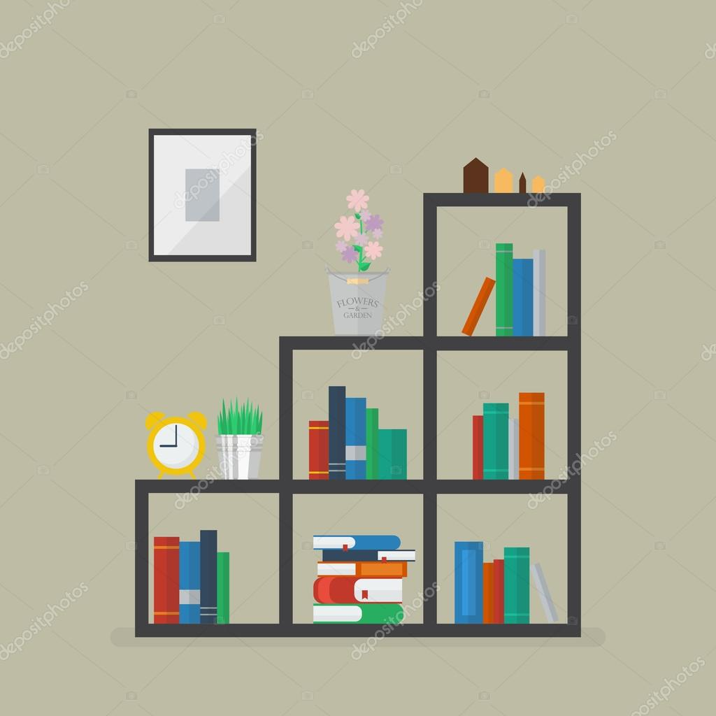 Minimal Bookshelf With Many Books And Flower Decoration Stock Vector