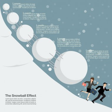 Business man and woman running away from snowball effect