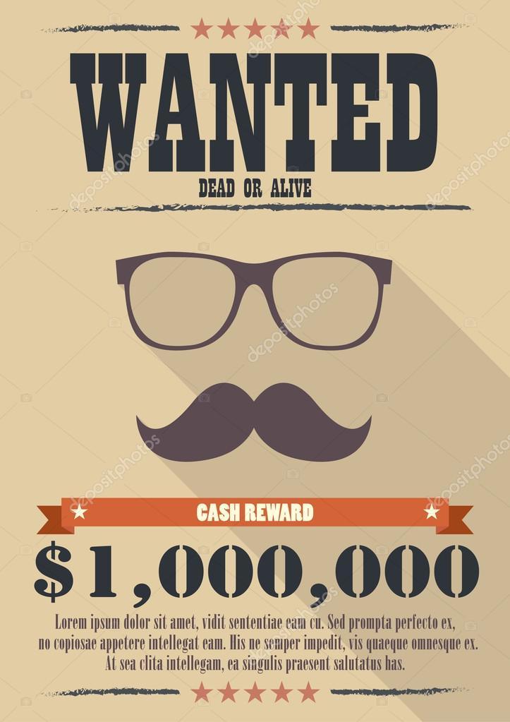 Die meisten gesuchter Mann mit Schnurrbart und Brille poster ...
