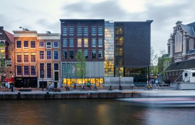 Amsterdam, Netherlands - May 7, 2015: Tourist visit Anne Frank house and holocaust museum in Amsterdam.