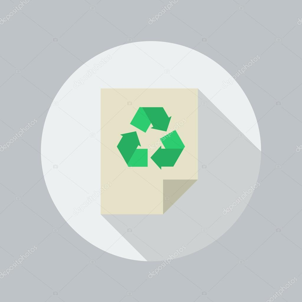 Eco Flat Icon. Recycle document