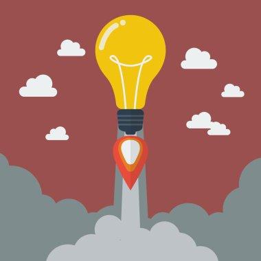 Lightbulb idea rocket