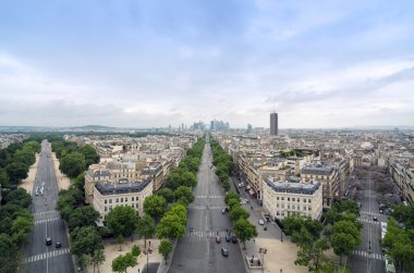Champs Elysees to La Defense from the Arc de Triomphe in Paris