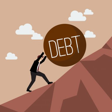 Businessman pushing heavy debt uphill