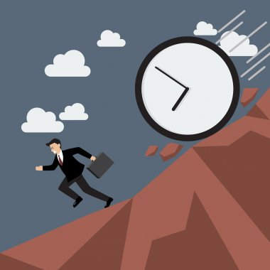 Businessman running away from clock attack