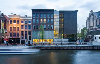 Amsterdam, Netherlands - May 7, 2015: Tourist visit Anne Frank house and holocaust museum in Amsterdam