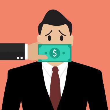 Businessman with dollar banknote taped to mouth