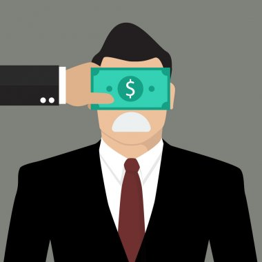 Businessman with dollar banknote taped to eyes