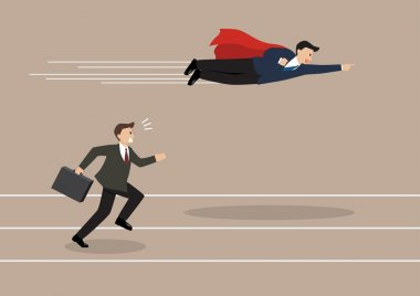 Businessman superhero fly pass his competitor. Business competition concept stock vector