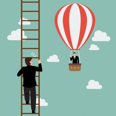 Businessman in hot air balloon fly pass businessman climbing the