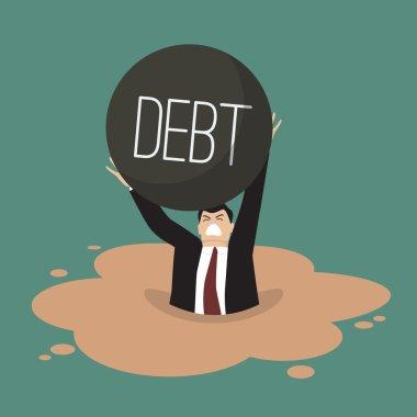 Businessman with heavy debt sinking in a quicksand