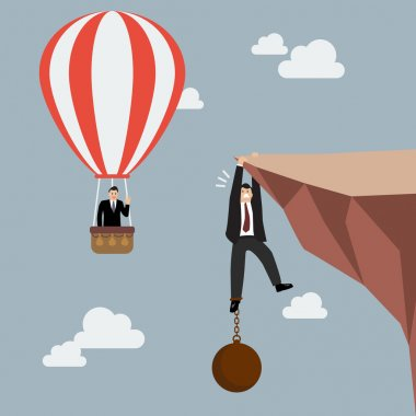 Businessman in hot air balloon fly pass businessman hold on the