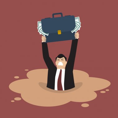 Businessman with briefcase full of money sinking in a quicksand