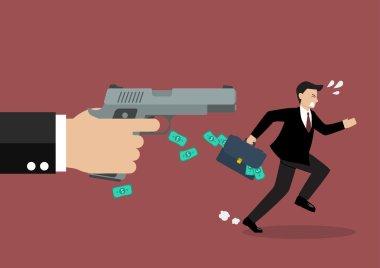 Businessman running away from a hand holding gun