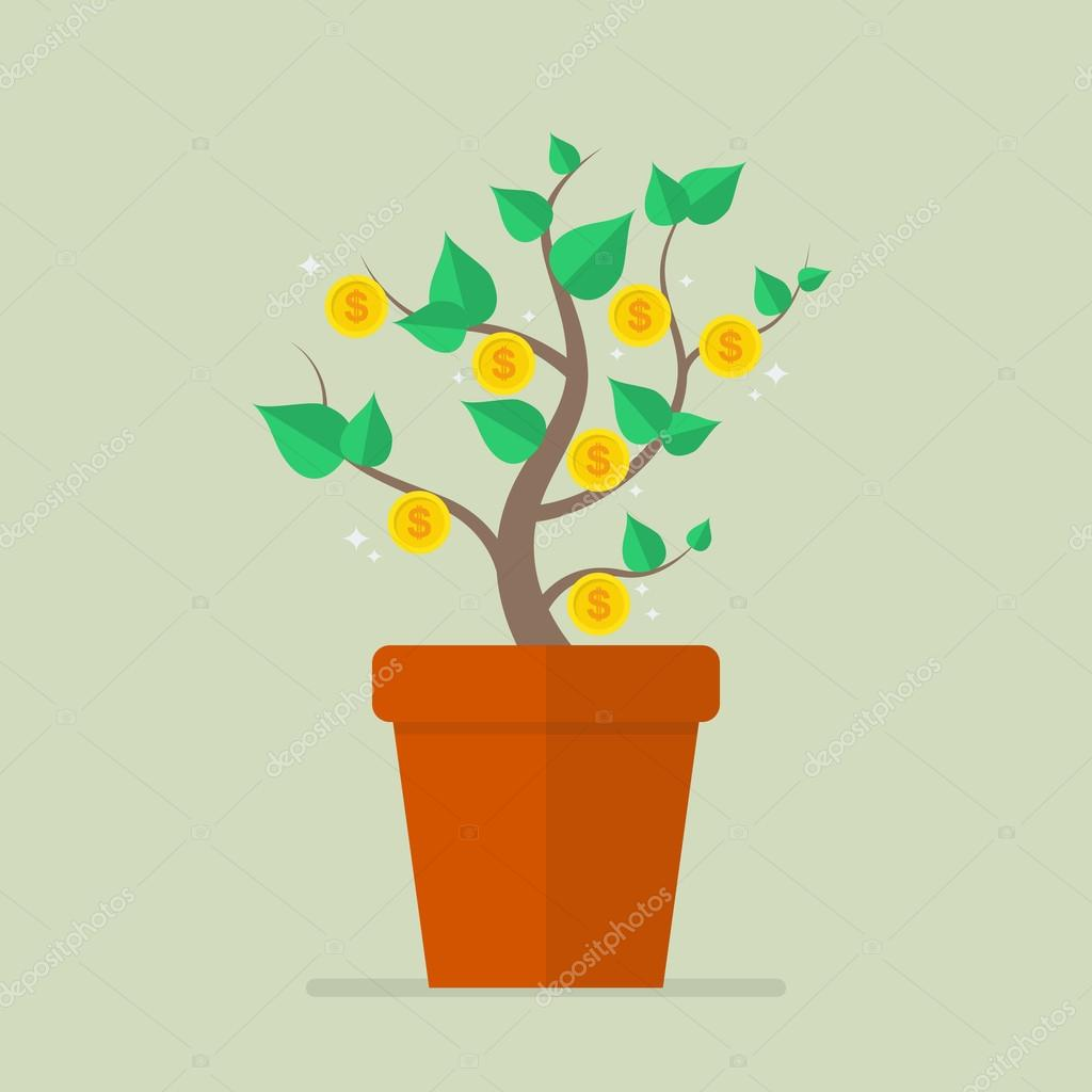 Money plant flat icon