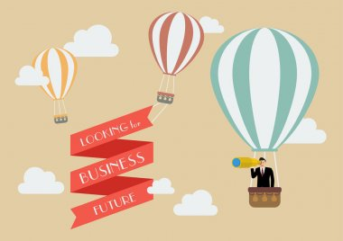Businessman looking for business in a hot air balloon. Business concept clip art vector