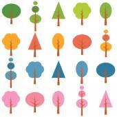 Vector diffrent tree samples seasons