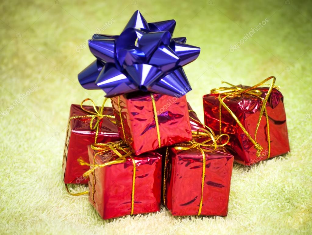 Gift Packages For A Party Such As Christmas Or Birthday Stock Photo
