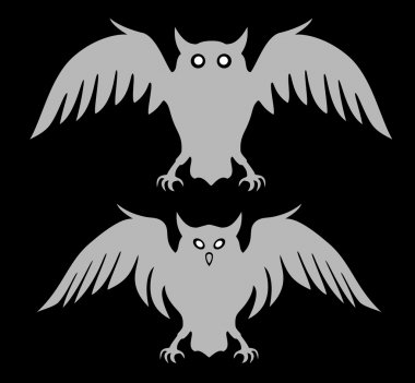 Flying owls. Stylized logo silhouettes. Vector eps8 isolated on