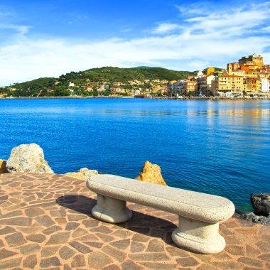 Bench on seafront in Porto Santo Stefano, Argentario, Tuscany, I