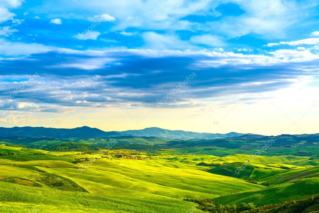 Фотообои Tuscany, rural sunset landscape. Countryside farm, white road an