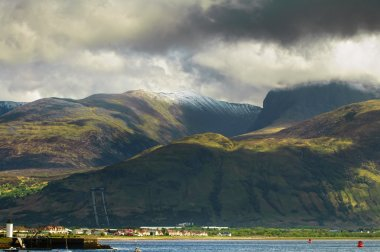 Ben Nevis mountain and Fort William town. Landscape in Highlands